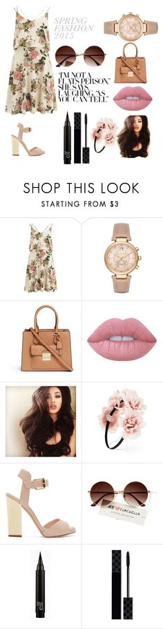 """spring in one"" by arrianjbolden ❤ liked on Polyvore featuring VILA, Michael Kors, Lime Crime, Forever 21, Giuseppe Zanotti and Gucci"