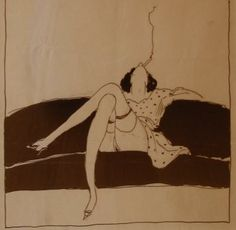 Donald Denton, American  A Collection from Chicago's Prohibition Era  Pen & Ink Drawing  c. 1920's  7 x 7  inches.