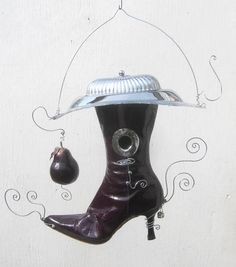 Delicious Purple Pear Purple Boot  Birdhouse door thedustyraven