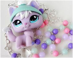 Snow Fox Necklace, Pastel Beaded Chain, LPS figure necklace, Silver Plated - Littlest Pet Shop, Fairy Kei via Etsy
