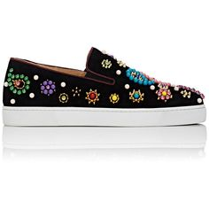 Christian Louboutin Women's Boat Candy Slip-On Sneakers (357.570 CLP) ❤ liked on Polyvore featuring shoes, sneakers, flats, sapatos, zapatos, black, black round toe flats, christian louboutin flats, black slip on sneakers and floral slip on sneakers