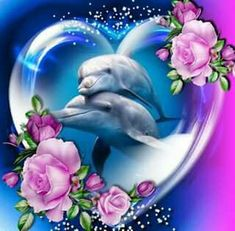 Two dolphins on each other in a heart bubble with pretty pink roses. Two dolphins on each other in a heart bubble with pretty pink roses. Dolphin Painting, Dolphin Art, Diy Painting, Dolphin Images, Dolphin Photos, Water Animals, Animals And Pets, Strange Animals, Dolphins Tattoo