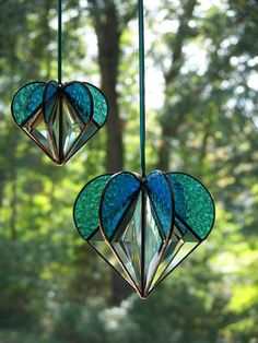 Stained Glass Heart Turquoise Stained glass by ChapmanStainedGlass
