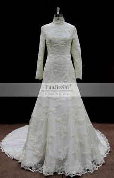 nice New Arrival Real Made Long Sleeve Wedding Dress FJS12 High Neck White/Ivory Vintage Beaded Appliques A Line Long Bridal Gown