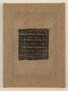 """Mark Goodwin, 2010   Suspended Night , rabbit skin glue, milk paint, wax, on handwoven linen  16"""" x 12"""" x 1"""""""