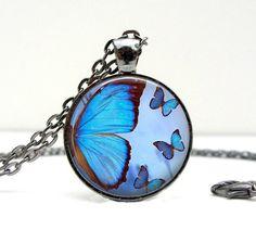 Blue Butterfly Necklace : Handmade Glass & Gunmetal Jewelry by Lizabettas Buy 3 Get 1 Free!!!