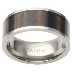 Men's Daxx Titanium African Band with African Blackwood Inlay - Brown/Silver (12) (9mm), Variation Parent
