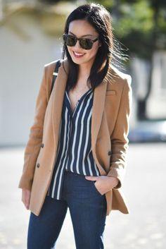 striped shirt, camel jacket