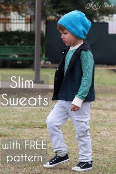 Slim sweatpants pattern If you ever wanted to sew an on trend pair of slim and fashionable sweatpants for boys or girls now's the right time. Super easy to sew with just enough detailing to be righ...