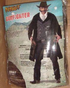 MEN'S COWBOY GUNFIGHTER BLACK DUSTER HALLOWEEN COSTUME MEDIUM 40-42 W HAT SPIRIT #Spirit #CompleteOutfit