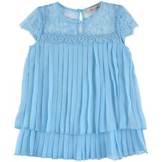 Pleated voile top with lace - Azure blue - 117259