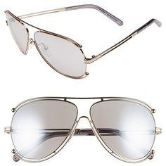 Women's Chloe 'Isidora' 61Mm Aviator Sunglasses ($396) ❤ liked on Polyvore featuring accessories, eyewear, sunglasses, chloe glasses, aviator style sunglasses, futuristic glasses, lightweight sunglasses and chloe sunglasses