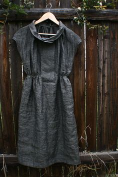 Grey linen dress by flour clothing