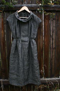 Grey linen dress by flour clothing