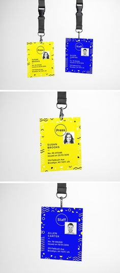 Enjoy a fun day with this realistic ID Card Free PSD MockUp. This is a clean free mockup with a lanyard which will help you to present your event or corporate b Invite Design, Id Card Design, Web Design, Badge Design, Event Invitation Design, Ticket Design, Conference Badges, Conference Branding, Cv Inspiration