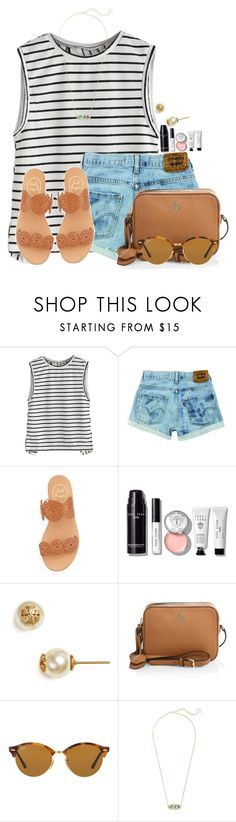 """""""QOTD: What's your perfect outfit?"""" by flroasburn ❤ liked on Polyvore featuring Jack Rogers, Bobbi Brown Cosmetics, Tory Burch, Ray-Ban and Kendra Scott"""