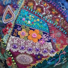 Wonderful Ribbon Embroidery Flowers by Hand Ideas. Enchanting Ribbon Embroidery Flowers by Hand Ideas. Crazy Quilting, Crazy Quilt Stitches, Crazy Quilt Blocks, Silk Ribbon Embroidery, Embroidery Stitches, Embroidery Patterns, Quilt Patterns, Etsy Embroidery, Block Patterns