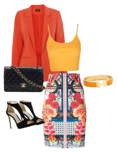 Caliente! by gigimapuce on Polyvore featuring polyvore, fashion, style, Topshop, Oasis, Clover Canyon, Jimmy Choo, Chanel, Hermès and clothing