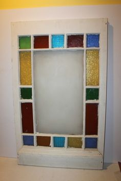 """Antique Stained Glass Window colors Large 44"""" 27"""" green blue yellow red retro"""