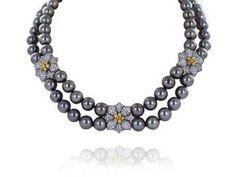 Tahitian Pearl & Diamond Flower Station Necklace  $ 49,500
