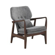 Baxton Studio Dobra Mid-century Modern Grey Fabric Upholstered Club Chair with Sleek Polished Walnut Finished Wood Arms