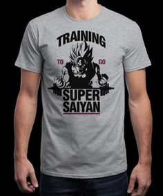 """Training to Go Super Saiyan"" is today's £8/€10/$12 tee for 24 hours only on www.Qwertee.com Pin this for a chance to win a FREE TEE this weekend. Follow us on pinterest.com/qwertee for a second! Thanks:)"