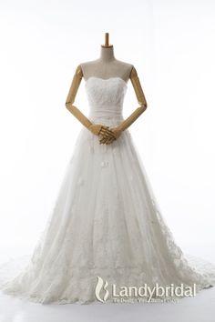 ウェディングドレス ハートネック Aライン ゴージャスなレースとビーディング LD3667B  税込: ¥67,500