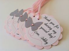 20 Pink and Grey Butterfly Scallop Tag.  Personalized Favor Tags for Baby or Bridal Shower, Birthday, Baptism or Wedding.