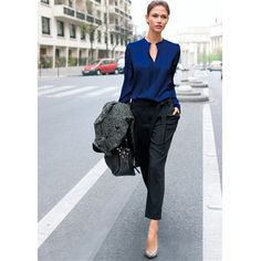 Long-Sleeved Plain Crêpe Blouse with Stand-Up Collar Sapphire blue