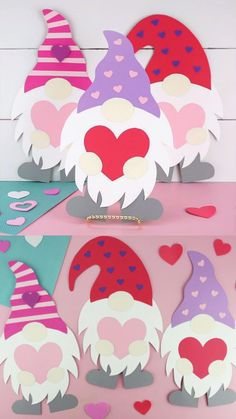 Valentine's Day Paper Crafts, Valentine's Day Crafts For Kids, Valentine Crafts For Kids, Holiday Crafts, Valentine Cards, Valentine Heart, Gnome Craft, Valentine's Cards For Kids, Valentine's Day Diy