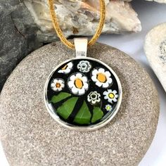 Daisy Necklace, Floral Necklace, Mosaic Flowers, Unusual Gifts, Gifts For Wife, Mustard Yellow, Necklace Lengths, Handcrafted Jewelry, My Etsy Shop