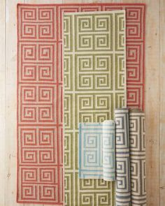Greek Key Flat-Weave Wool Rug by Garnet Hills;  available in 6 different colors and 5 different sizes
