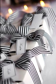 simple black and white ribbon gift wrap