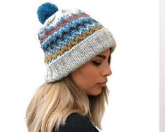 Excited to share the latest addition to my #etsy shop: Gray Knit women hat / knit fair isle hat / winter hat / knit wool hat / knit blue turquoise pom pom hat / gift for her / rolled brim hat https://etsy.me/2HWJhIy #accessories #hat #gray #knitfairislehat #knitwoolhat