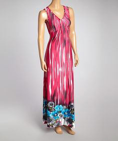 Look what I found on #zulily! Hot Pink & Blue Tie-Dye Maxi Dress #zulilyfinds