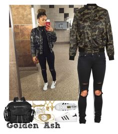 """""""Camo Monday."""" by fashionsetstyler ❤ liked on Polyvore featuring adidas, The Gold Gods, New Look, adidas Originals, Alexander Wang, Charlotte Russe, Movado and gemini"""