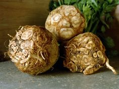Celeriac root vegetable. Peel and cook like potatoes but with fewer calories and a more satisfying smoky flavor.