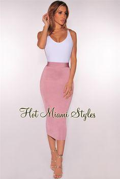 Mauve Ribbed Knit Midi Skirt