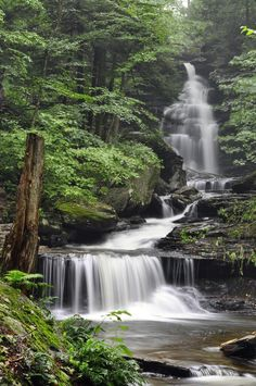 beautiful waterfall in Rickett's Glen State Park, PA