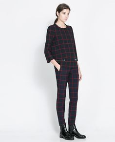zara checkered outfit.