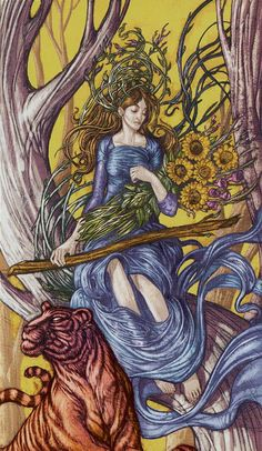 Queen of Wands - Universal Fantasy Tarot  Sandy Rowley reviews http://www.merchantcircle.com/business/Mega.Star.Media.Inc.Reno.NV.775-850-5821