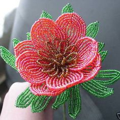French Beaded Flower Red Oriental Popppy by nichola26 on Etsy, £9.80