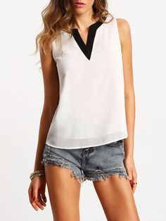 Shop White Sleeveless Contrast V Neck Chiffon Blouse online. SheIn offers White Sleeveless Contrast V Neck Chiffon Blouse & more to fit your fashionable needs. White Sleeveless Blouse, Plain Shirts, Loose Tops, Casual Tops, Casual Wear, Chiffon Tops, Ideias Fashion, Clothes For Women, Summer Tops