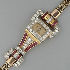 Retro Jewelry An Art Deco ruby and diamond Odeonesque style cocktail bracelet watch - Ruby Jewelry, Art Deco Jewelry, Fine Jewelry, Jewelry Design, Jewelry Bracelets, Jewellery, Art Nouveau, Antique Watches, Vintage Watches