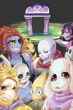 Undertale Illustration Toriel, Asgore, Sans, Papyrus, Mettaton, Undyne, Alphys, Napstablook, and Monster Kid. I was warned in the source notes that the artist blog is NSFW, so I won't post it here. The artist is Achakura. Submission to the site I found it was hsm324710