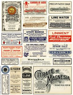 Vintage Ephemera Antique Medical Medicine Poison Pharmacy Label Collage Sheet Supplies Altered Art Mixed Media Digital Download No. 85    From http://www.etsy.com/listing/80527468/vintage-ephemera-antique-medical
