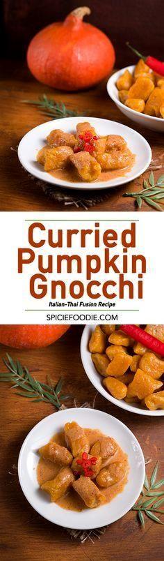 Curried Pumpkin Gnoc     Curried Pumpkin Gnocchi    #meatlessmeals   #vegetarian   #potato   #italian   #spicy   #thaiflavors