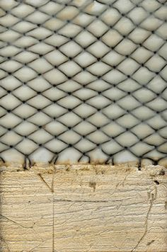 Leslie Saris.  Encaustic, fish net w/ gold leaf. I like incorporation of found objects and materials