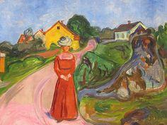 """Edward Munch, """"Femme vêtue de rouge"""" (vers 1902-1903). Nouvelle Pinacothèque, Munich. Imagen tomada de http://frederictison.over-blog.com/article-la-tourmente-des-couleurs-92638187.html"""