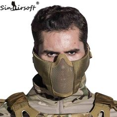 Tactical Airsoft Mask Helmet Half Lower Face Metal Steel Net Hunting Protective prop for Paintball Party Mask CS Product Description: brand new and Tactical Equipment, Tactical Gear, Tactical Survival, Paintball Party, Airsoft Helmet, Tac Gear, Half Face Mask, Mask Party, Survival Gear